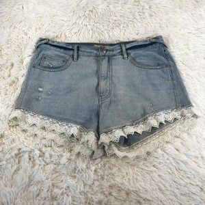 Free People Denim Lace Trim Shorts